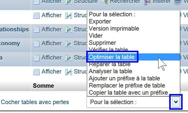 phpMyAdmin - optimiser les tables sélectionnées