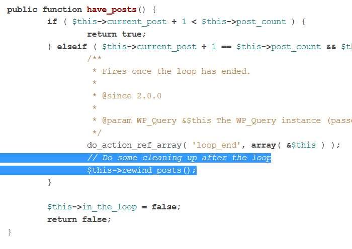 Boucle WordPress - le code de la fonction have_posts avec réinitialisation en fin de boucle