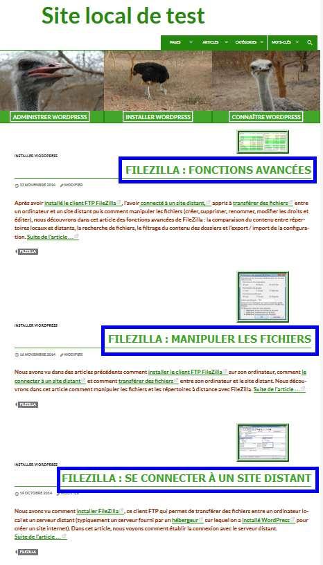 Modifier la boucle - étiquette, nombre d'articles et tri sur le titre