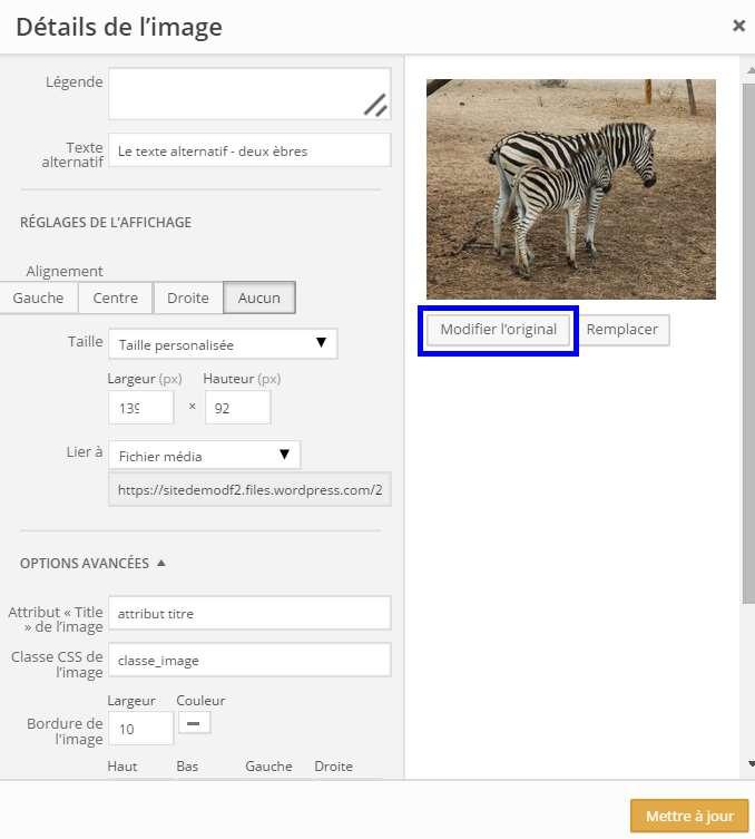 modifier images - accéder à la modification de l'image originale