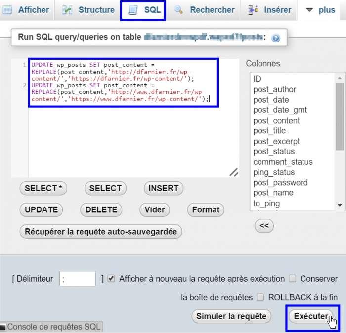 WordPress en HTTPS - oRequête SQL dans PHPMyAdmin pur passer le contenu en HTTPS