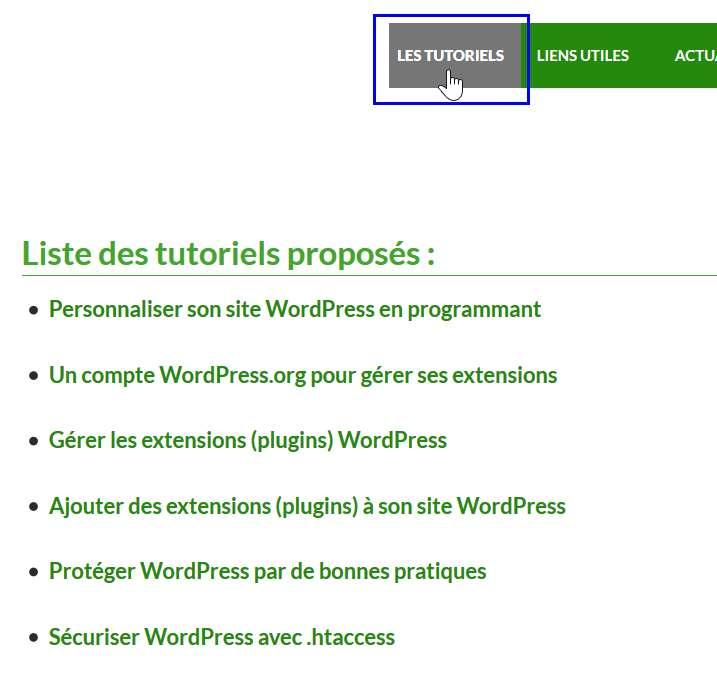 Meta donnée de catégories - liste des articles dont le contenu est un tutoriel