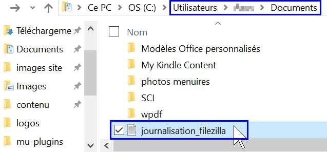 L'explorteur windows permet de constater que le fichier journal a été créé dès qu'on échange avec le site via Filezilla